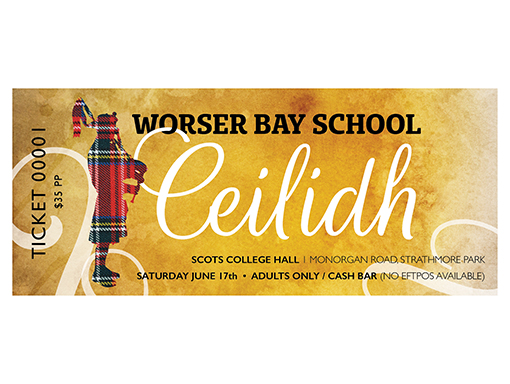 Worser Bay School Ceilidh ticket – Bunkhouse graphic design