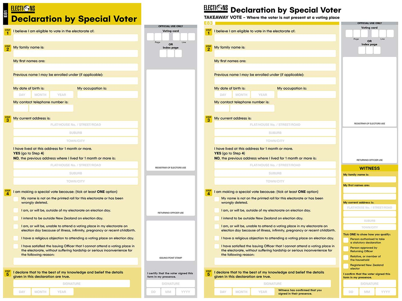 Electoral Commission forms for Election Day Special Voter – Bunkhouse graphic design