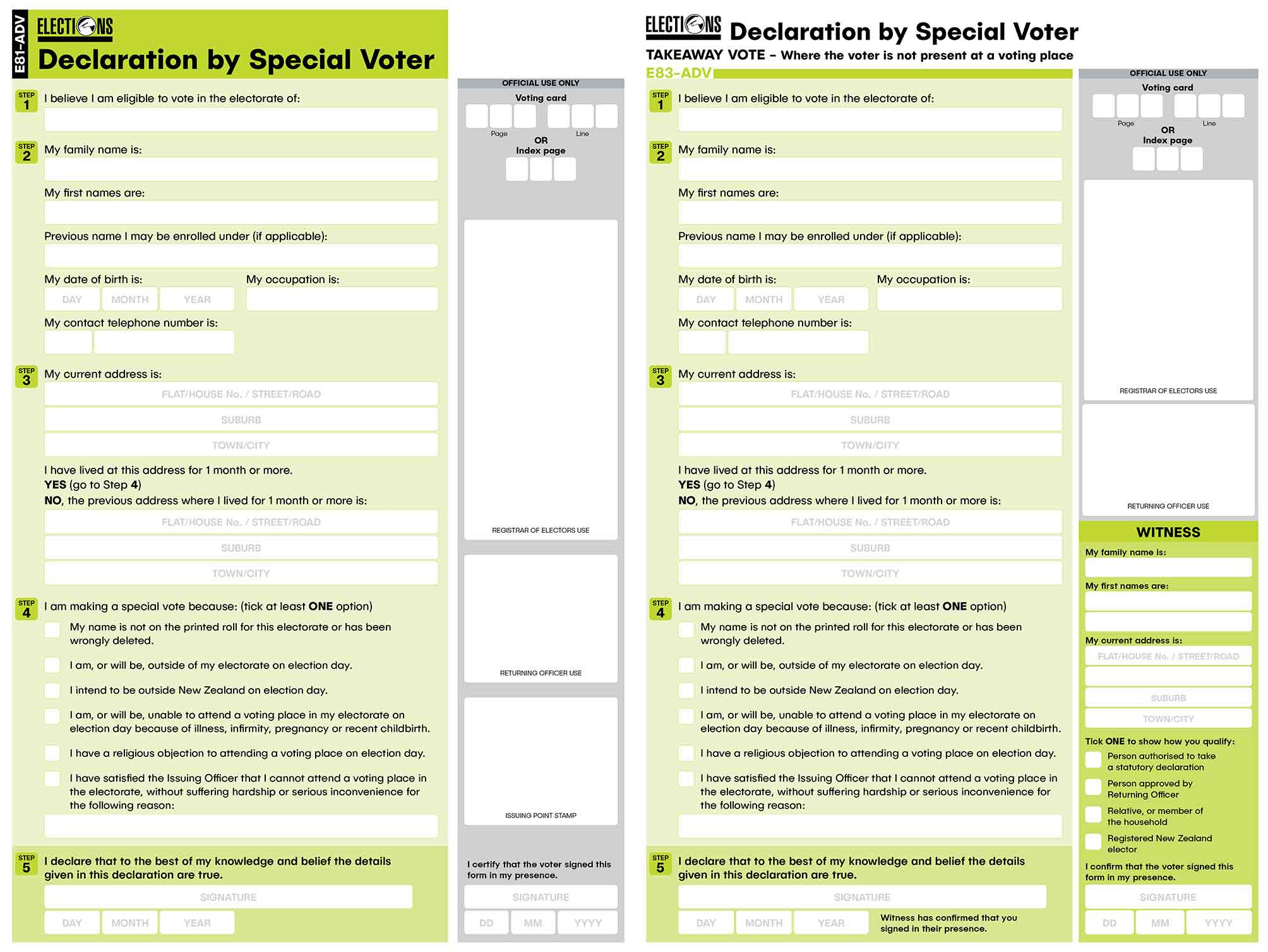 Electoral Commission Forms for Advance Special Voter – Bunkhouse graphic design