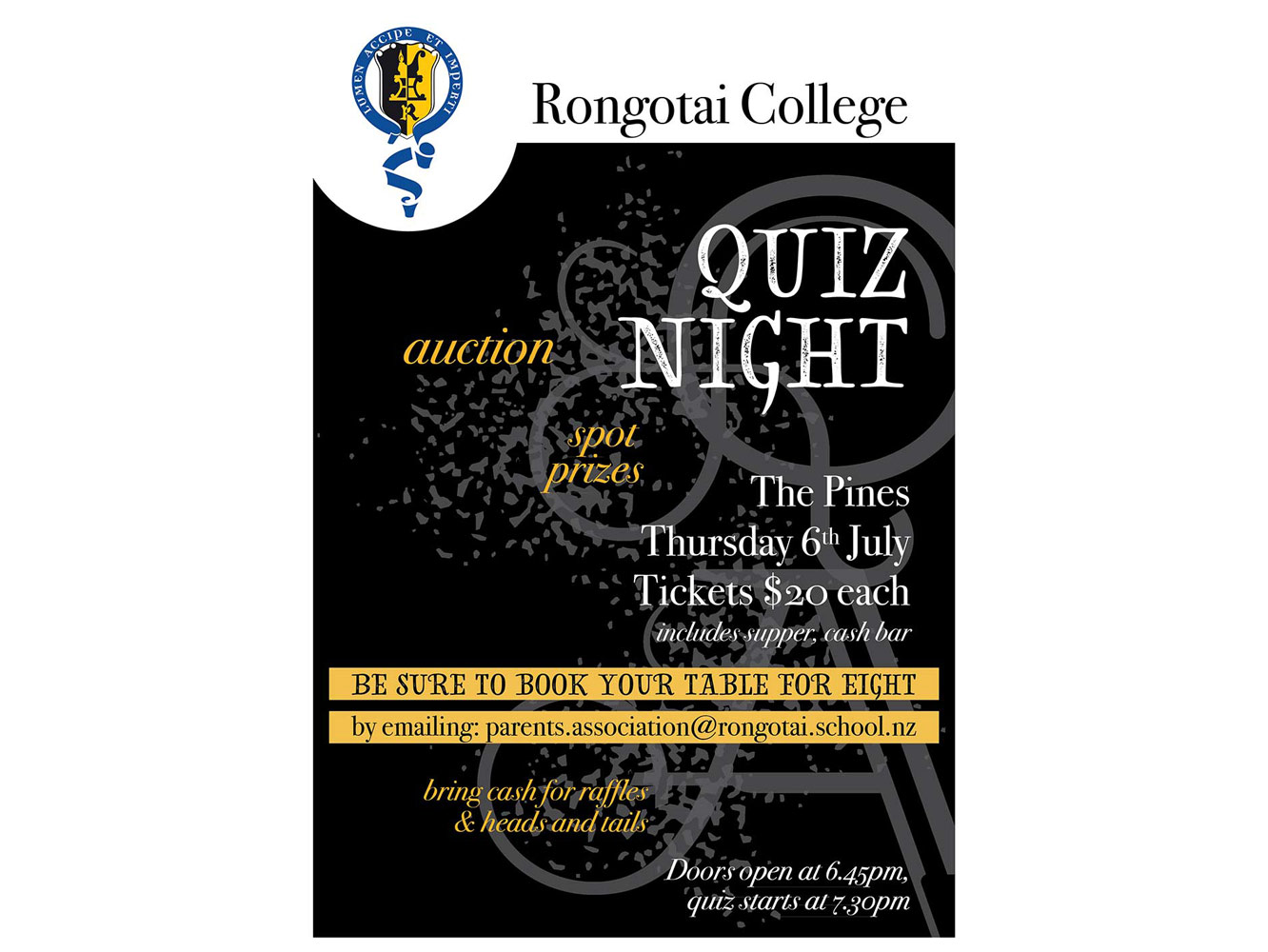 Rongotai College school quiz night flyer – Bunkhouse graphic design