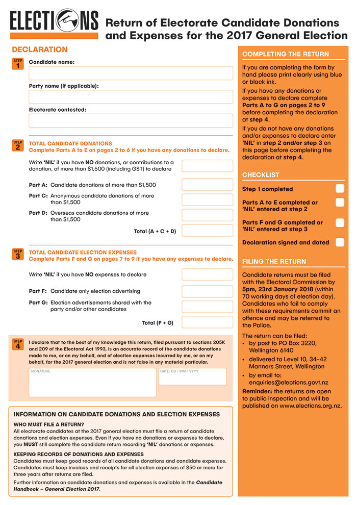 Electoral Commission Candidate Return form  - Bunkhouse graphic design
