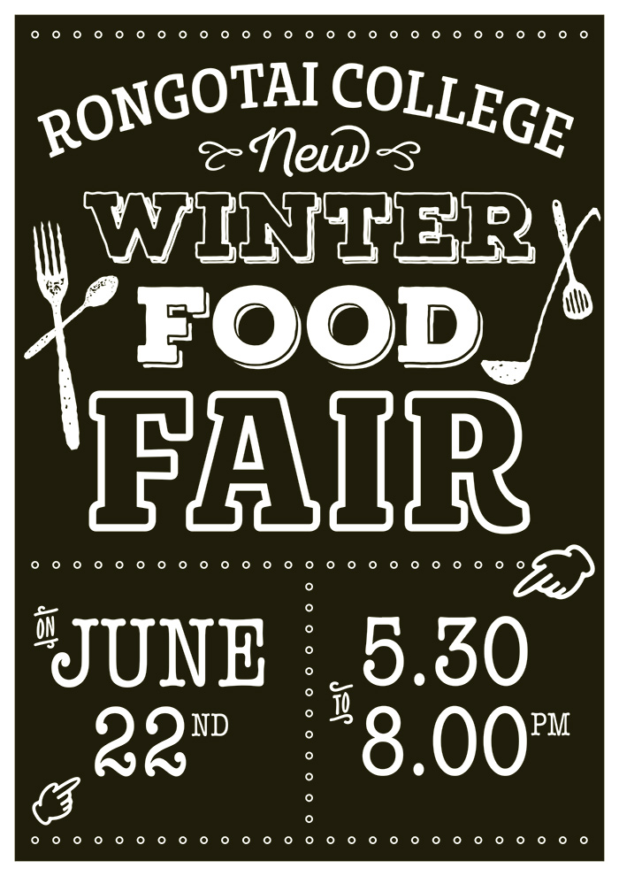 Rongotai College winter food fair flyer design – Bunkhouse graphic design