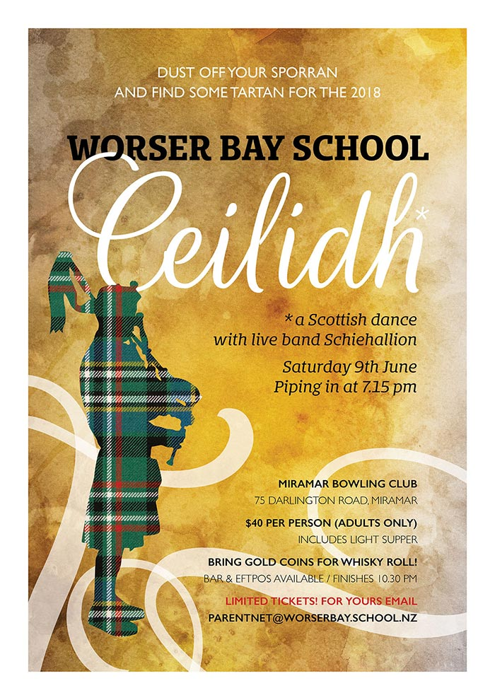 Worser Bay School Ceilidh poster - Bunkhouse graphic design