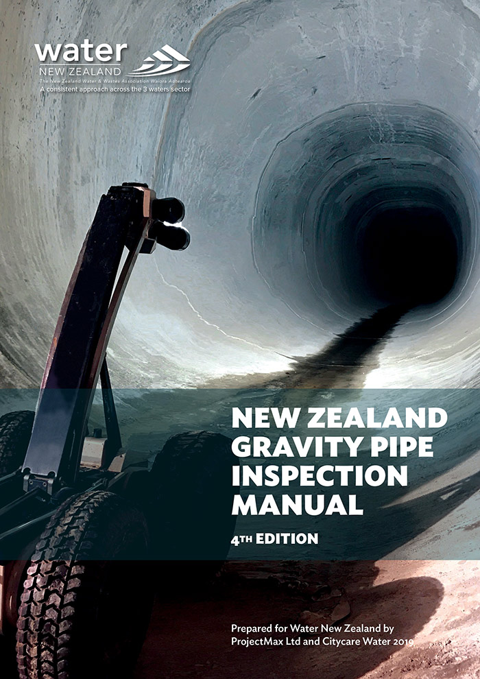 Cover design publication for Water New Zealand, New Zealand Gravity Pipe Inspection Manual 2019.