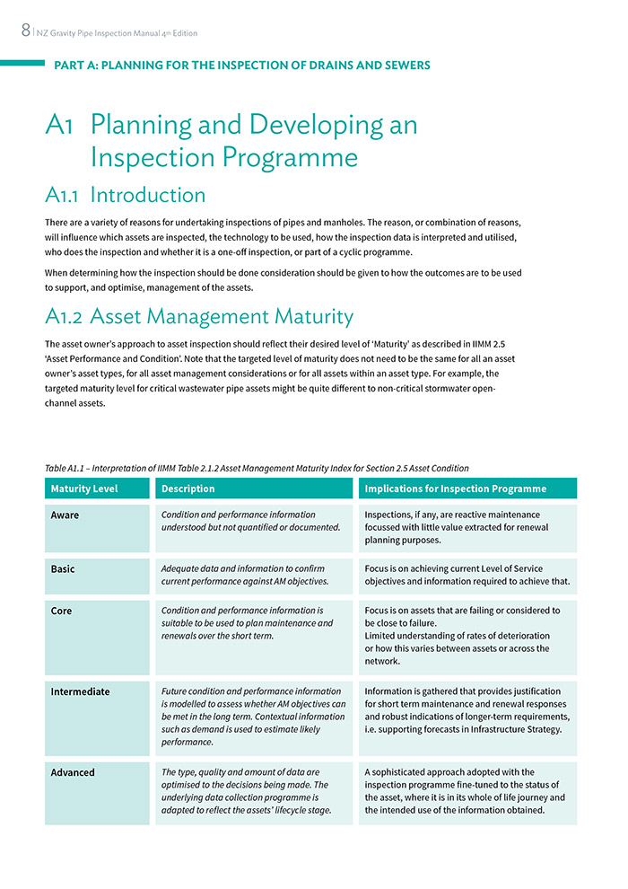 Inside page design publication for Water New Zealand, New Zealand Gravity Pipe Inspection Manual 2019.