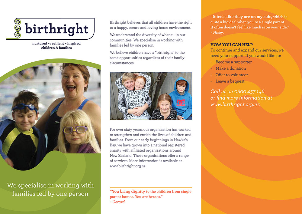 Birthright brochure promotional collateral