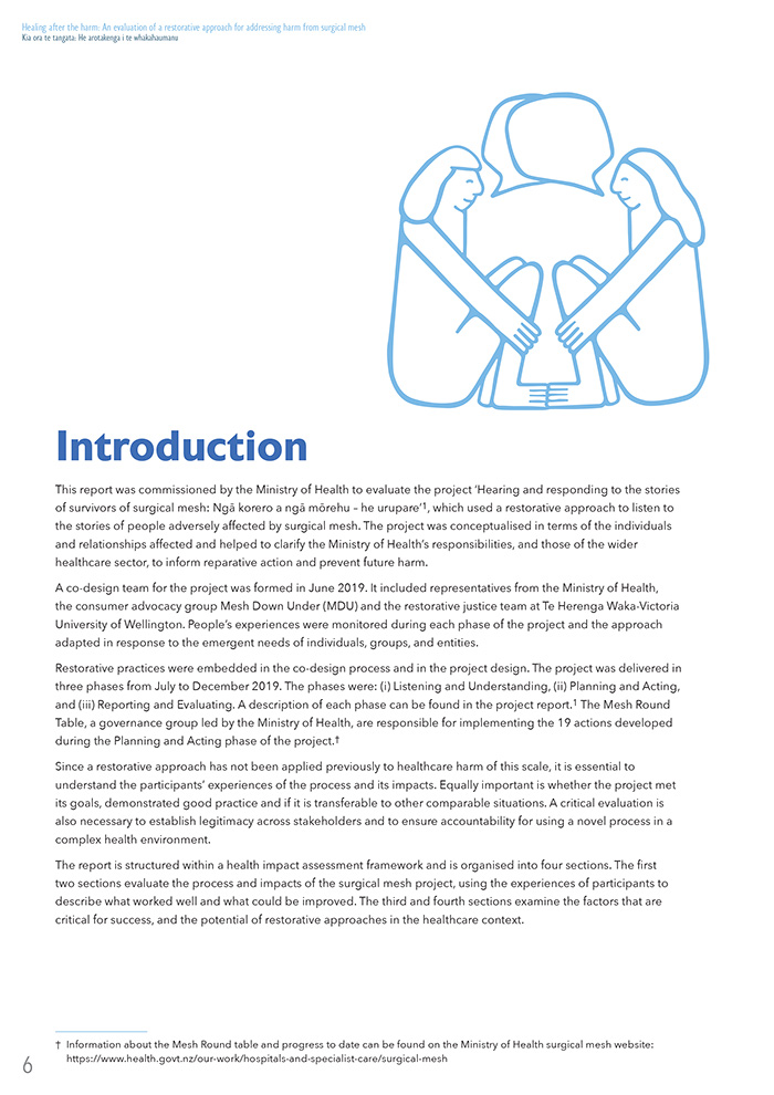 Internal page design for Victoria University 2nd Report on Surgical Mesh
